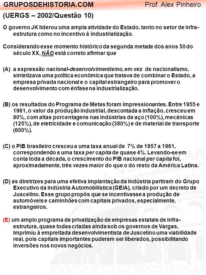 GRUPOSDEHISTORIA.COM Prof. Alex Pinheiro. (UERGS – 2002/Questão 10) O governo JK liderou uma ampla atividade do Estado, tanto no setor de infra- estru
