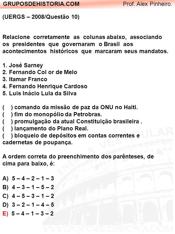 GRUPOSDEHISTORIA.COM Prof. Alex Pinheiro. (UERGS – 2008/Questão 10) Relacione corretamente as colunas abaixo, associando os presidentes que governaram