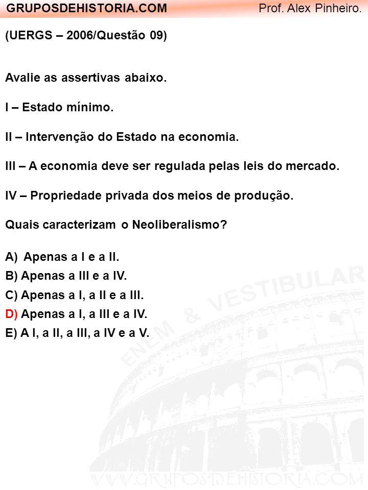GRUPOSDEHISTORIA.COM Prof. Alex Pinheiro. (UERGS – 2006/Questão 09) Avalie as assertivas abaixo. I – Estado mínimo. II – Intervenção do Estado na econ