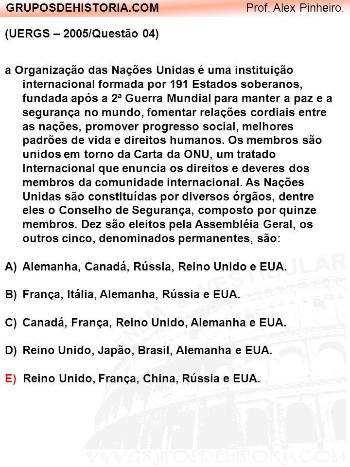 GRUPOSDEHISTORIA.COM Prof. Alex Pinheiro. (UERGS – 2005/Questão 04) a Organização das Nações Unidas é uma instituição internacional formada por 191 Es