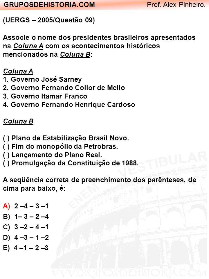 GRUPOSDEHISTORIA.COM Prof. Alex Pinheiro. (UERGS – 2005/Questão 09) Associe o nome dos presidentes brasileiros apresentados na Coluna A com os acontec