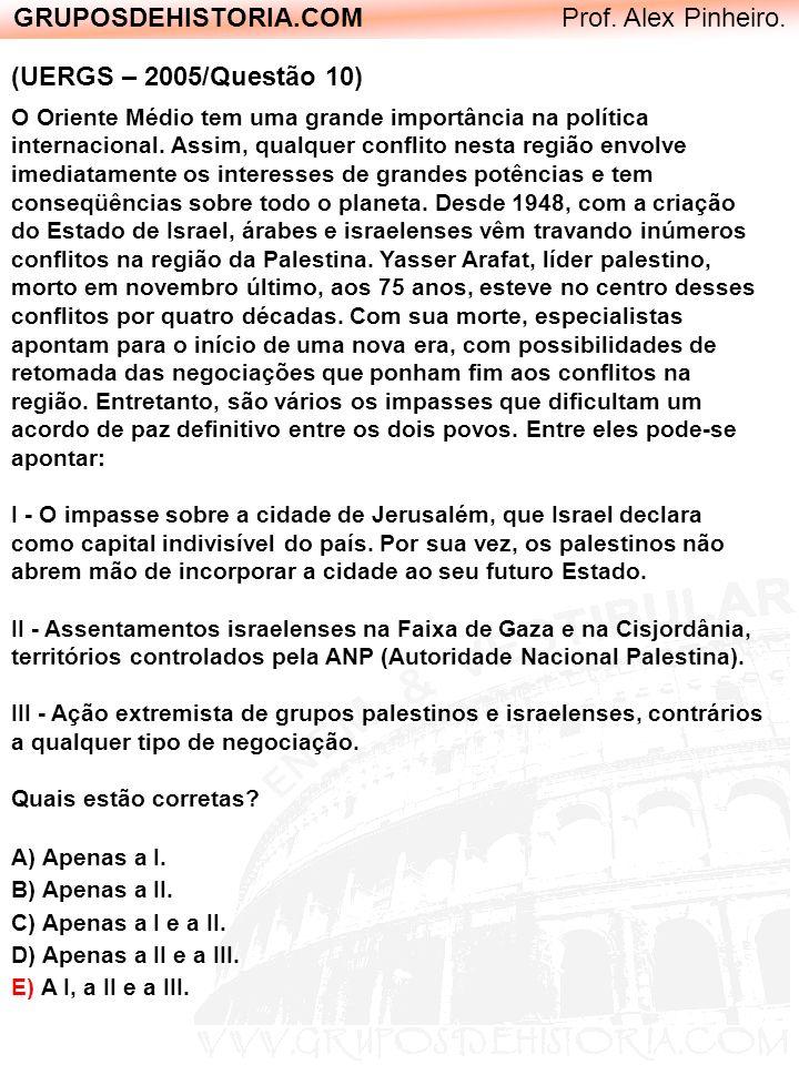 GRUPOSDEHISTORIA.COM Prof. Alex Pinheiro. (UERGS – 2005/Questão 10) O Oriente Médio tem uma grande importância na política internacional. Assim, qualq
