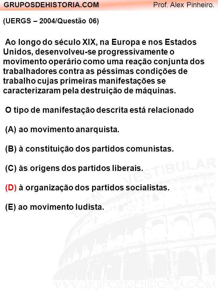 GRUPOSDEHISTORIA.COM Prof. Alex Pinheiro. (UERGS – 2004/Questão 06) Ao longo do século XIX, na Europa e nos Estados Unidos, desenvolveu-se progressiva