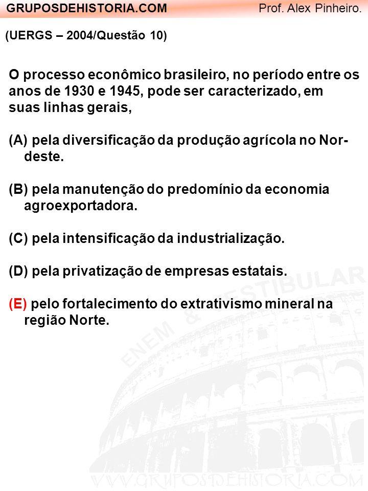 GRUPOSDEHISTORIA.COM Prof. Alex Pinheiro. (UERGS – 2004/Questão 10) O processo econômico brasileiro, no período entre os anos de 1930 e 1945, pode ser