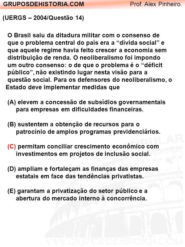 GRUPOSDEHISTORIA.COM Prof. Alex Pinheiro. (UERGS – 2004/Questão 14) O Brasil saiu da ditadura militar com o consenso de que o problema central do país