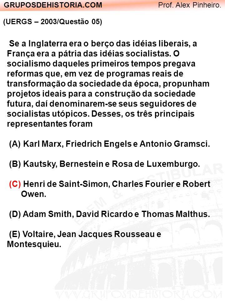 GRUPOSDEHISTORIA.COM Prof. Alex Pinheiro. (UERGS – 2003/Questão 05) Se a Inglaterra era o berço das idéias liberais, a França era a pátria das idéias