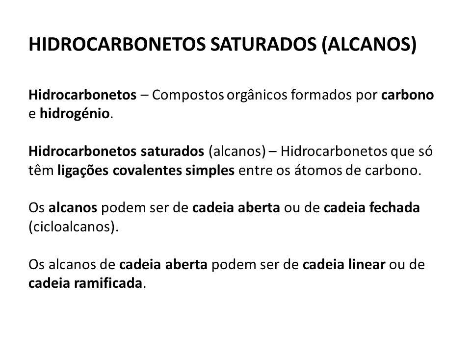 HIDROCARBONETOS SATURADOS (ALCANOS) Hidrocarbonetos – Compostos orgânicos formados por carbono e hidrogénio.