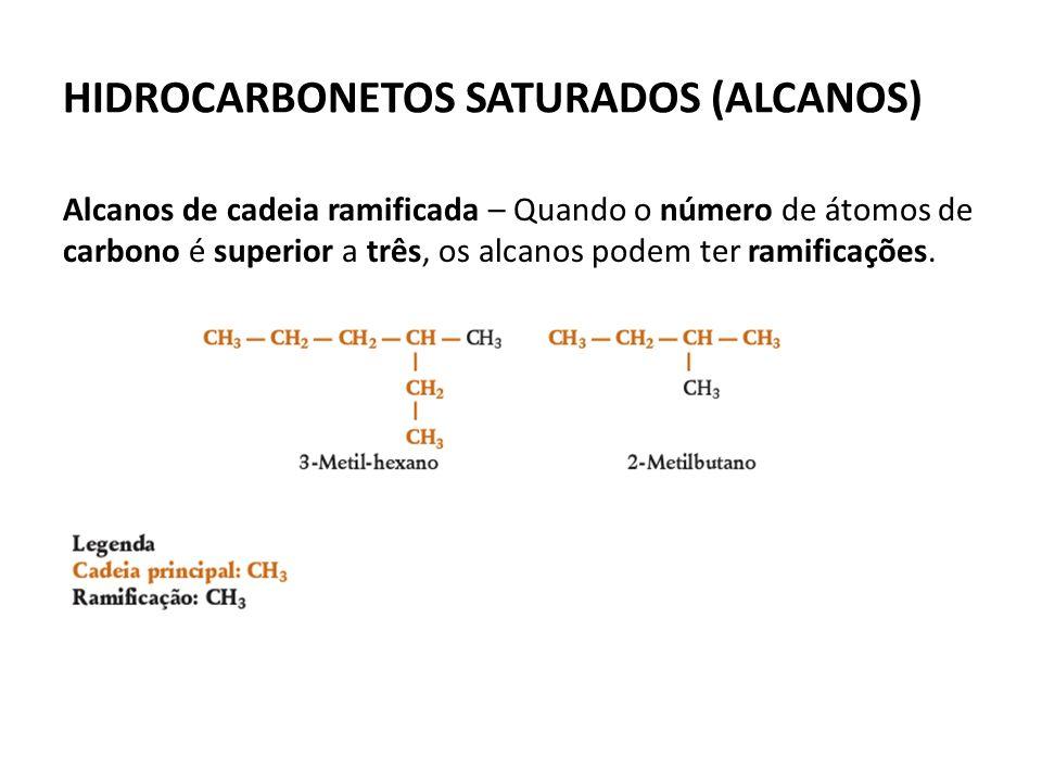 HIDROCARBONETOS SATURADOS (ALCANOS) Alcanos de cadeia ramificada – Quando o número de átomos de carbono é superior a três, os alcanos podem ter ramificações.