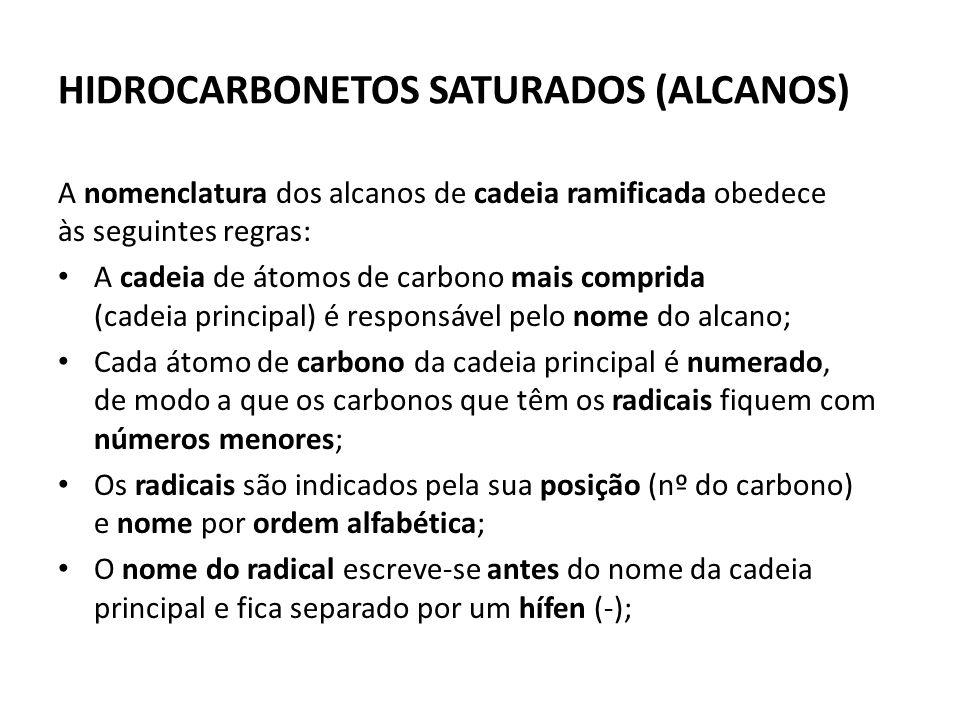 HIDROCARBONETOS SATURADOS (ALCANOS) A nomenclatura dos alcanos de cadeia ramificada obedece às seguintes regras: A cadeia de átomos de carbono mais comprida (cadeia principal) é responsável pelo nome do alcano; Cada átomo de carbono da cadeia principal é numerado, de modo a que os carbonos que têm os radicais fiquem com números menores; Os radicais são indicados pela sua posição (nº do carbono) e nome por ordem alfabética; O nome do radical escreve-se antes do nome da cadeia principal e fica separado por um hífen (-);