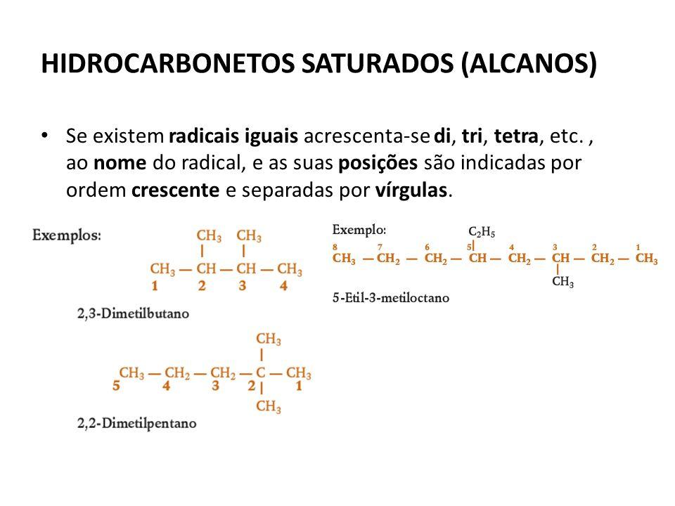 HIDROCARBONETOS SATURADOS (ALCANOS) Se existem radicais iguais acrescenta-se di, tri, tetra, etc.