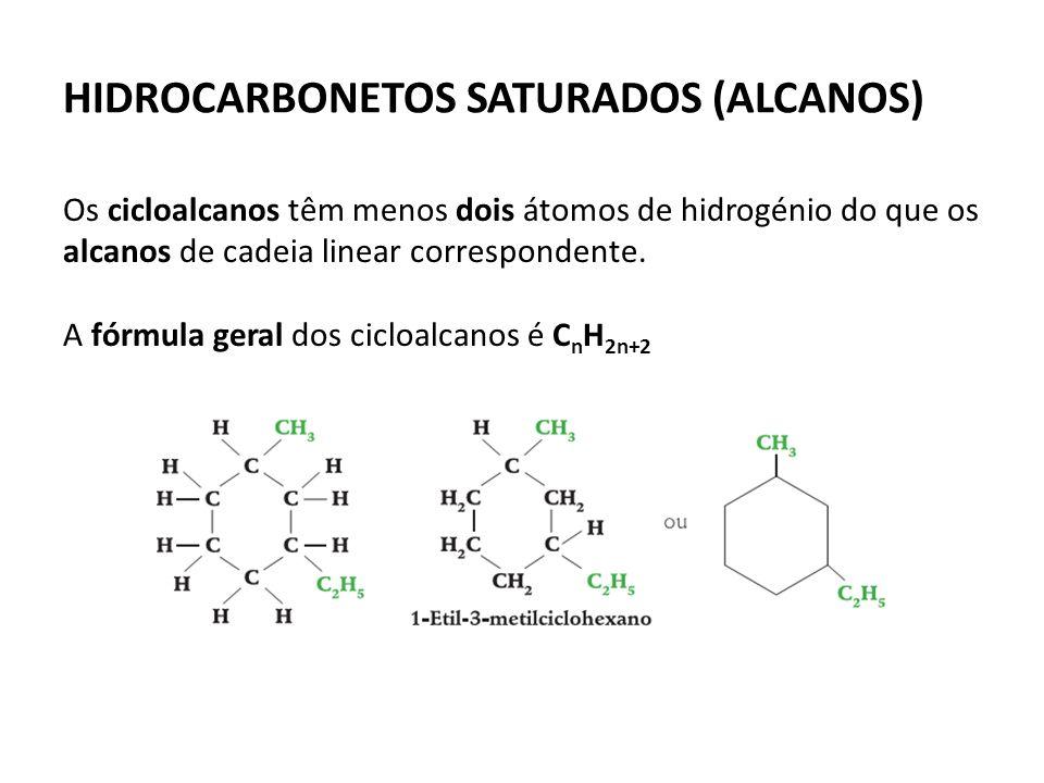 HIDROCARBONETOS SATURADOS (ALCANOS) Os cicloalcanos têm menos dois átomos de hidrogénio do que os alcanos de cadeia linear correspondente.