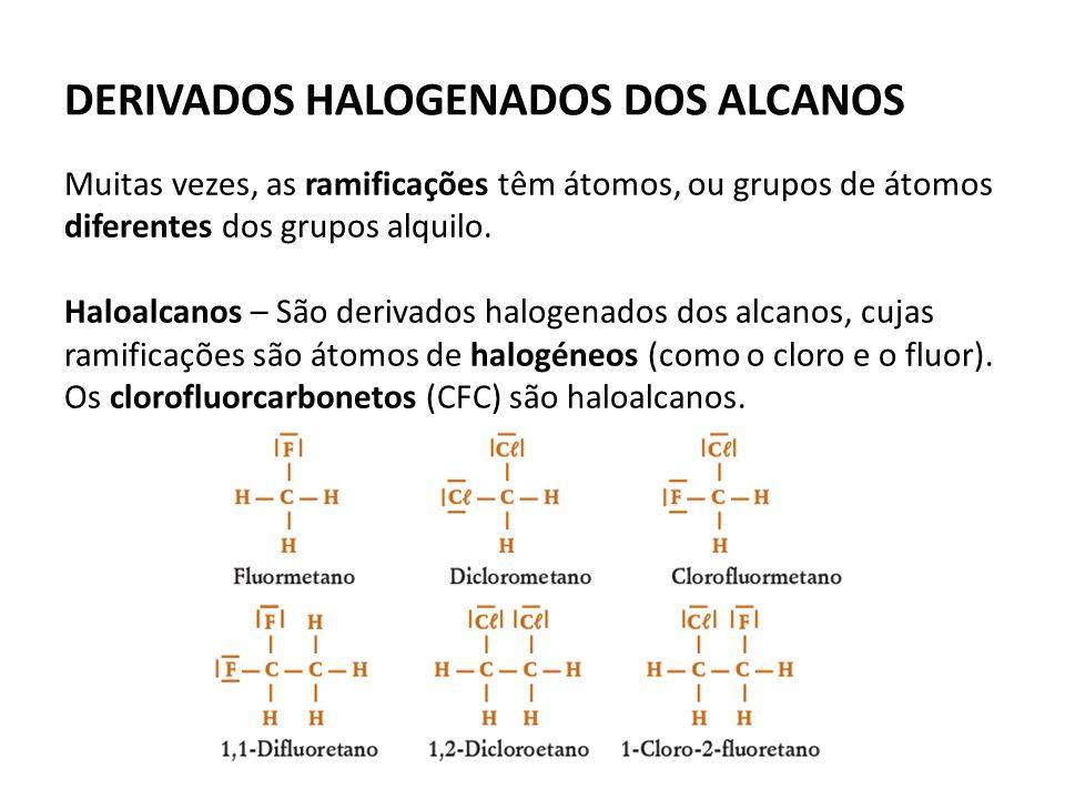 DERIVADOS HALOGENADOS DOS ALCANOS Muitas vezes, as ramificações têm átomos, ou grupos de átomos diferentes dos grupos alquilo.