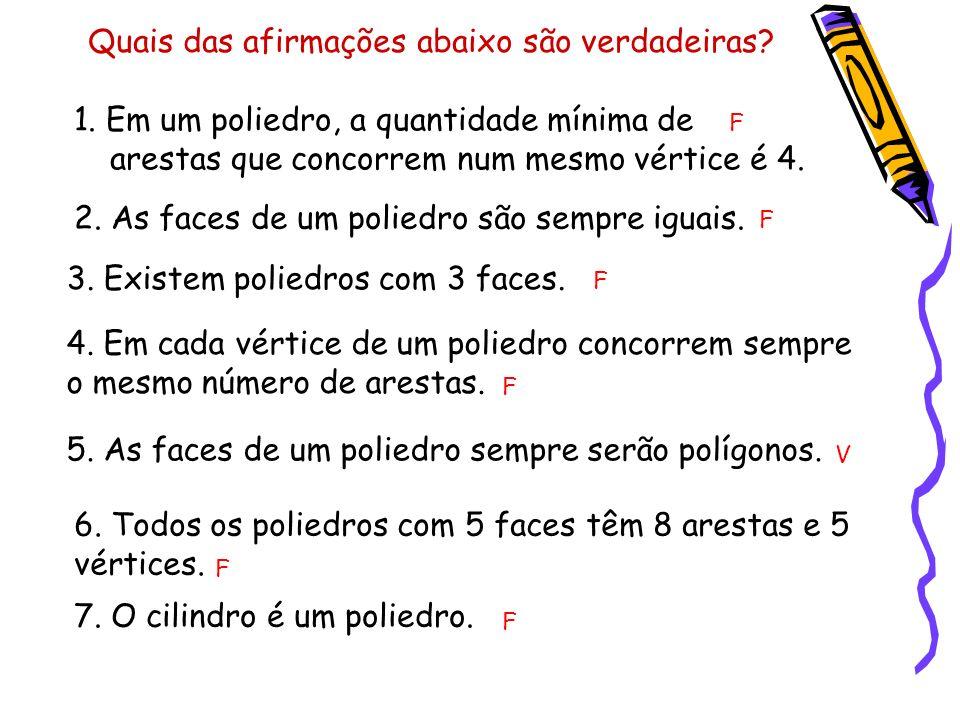 Quais das afirmações abaixo são verdadeiras? 1. Em um poliedro, a quantidade mínima de arestas que concorrem num mesmo vértice é 4. 2. As faces de um