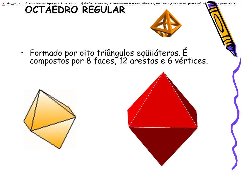 OCTAEDRO REGULAR Formado por oito triângulos eqüiláteros. É compostos por 8 faces, 12 arestas e 6 vértices.