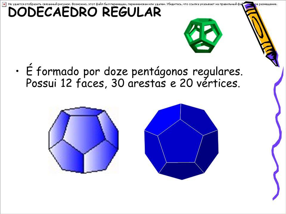 DODECAEDRO REGULAR É formado por doze pentágonos regulares. Possui 12 faces, 30 arestas e 20 vértices.