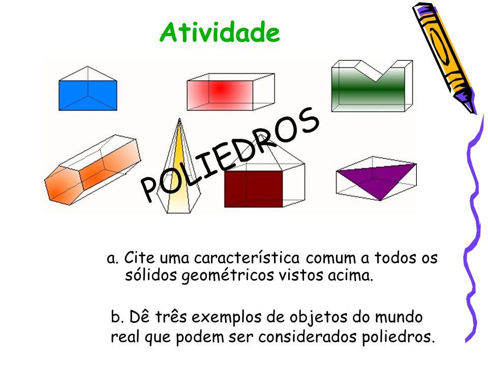 DEFINIÇÃO De forma simplificada, podemos dizer que poliedros são sólidos geométricos limitados por faces que são polígonos planos.