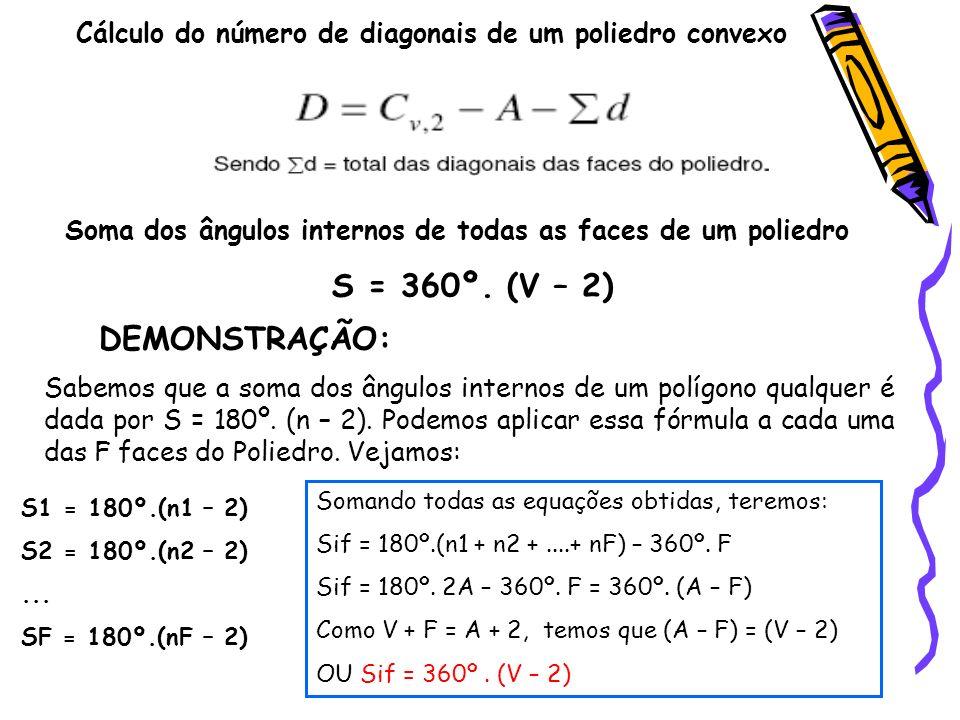 Cálculo do número de diagonais de um poliedro convexo Soma dos ângulos internos de todas as faces de um poliedro S = 360º. (V – 2) DEMONSTRAÇÃO: Sabem