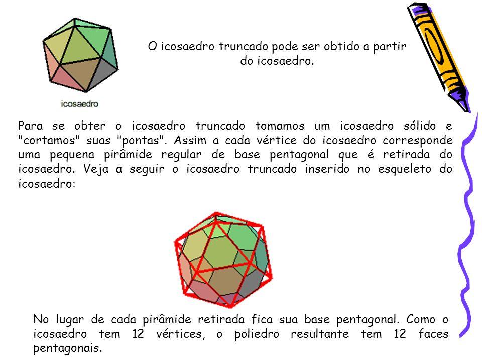 O icosaedro truncado pode ser obtido a partir do icosaedro. Para se obter o icosaedro truncado tomamos um icosaedro sólido e