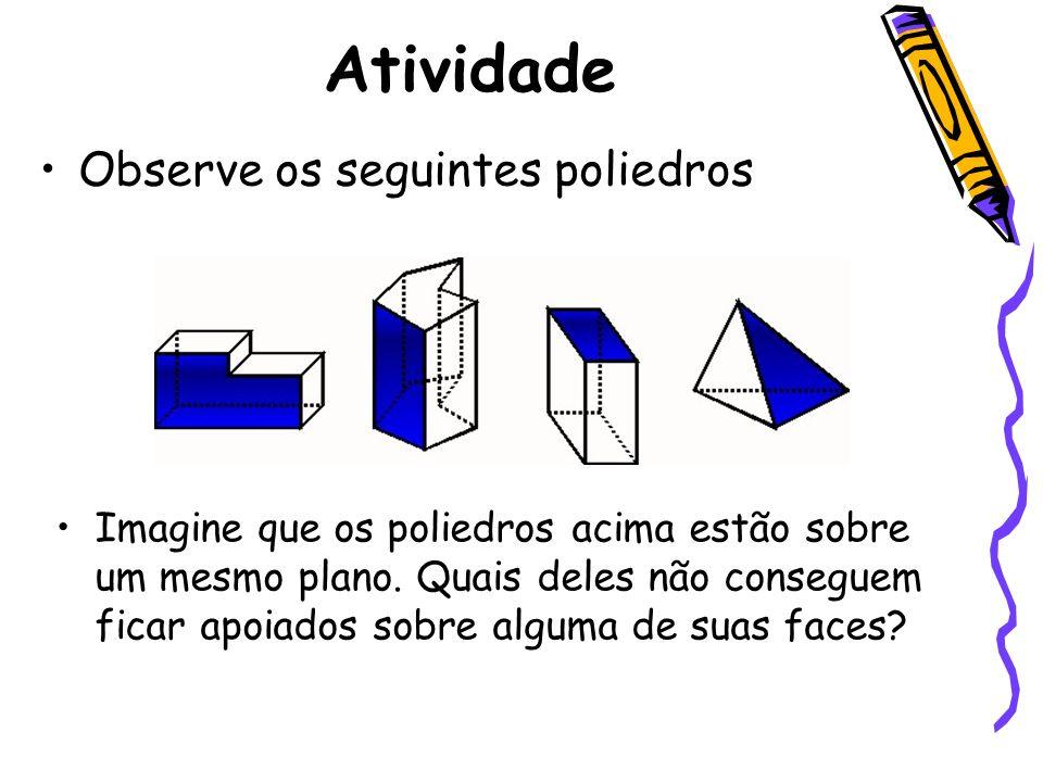 Atividade Observe os seguintes poliedros Imagine que os poliedros acima estão sobre um mesmo plano. Quais deles não conseguem ficar apoiados sobre alg