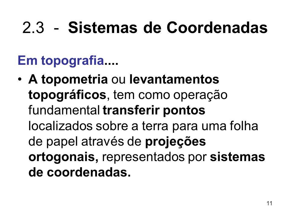 11 2.3 - Sistemas de Coordenadas Em topografia.... A topometria ou levantamentos topográficos, tem como operação fundamental transferir pontos localiz