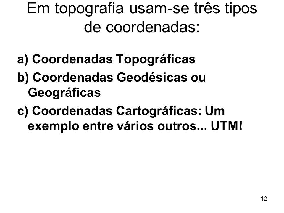 12 Em topografia usam-se três tipos de coordenadas: a) Coordenadas Topográficas b) Coordenadas Geodésicas ou Geográficas c) Coordenadas Cartográficas: