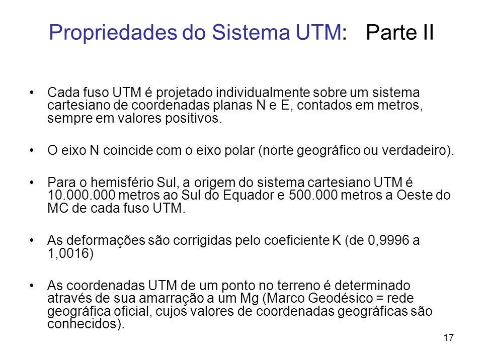 17 Propriedades do Sistema UTM: Parte II Cada fuso UTM é projetado individualmente sobre um sistema cartesiano de coordenadas planas N e E, contados e