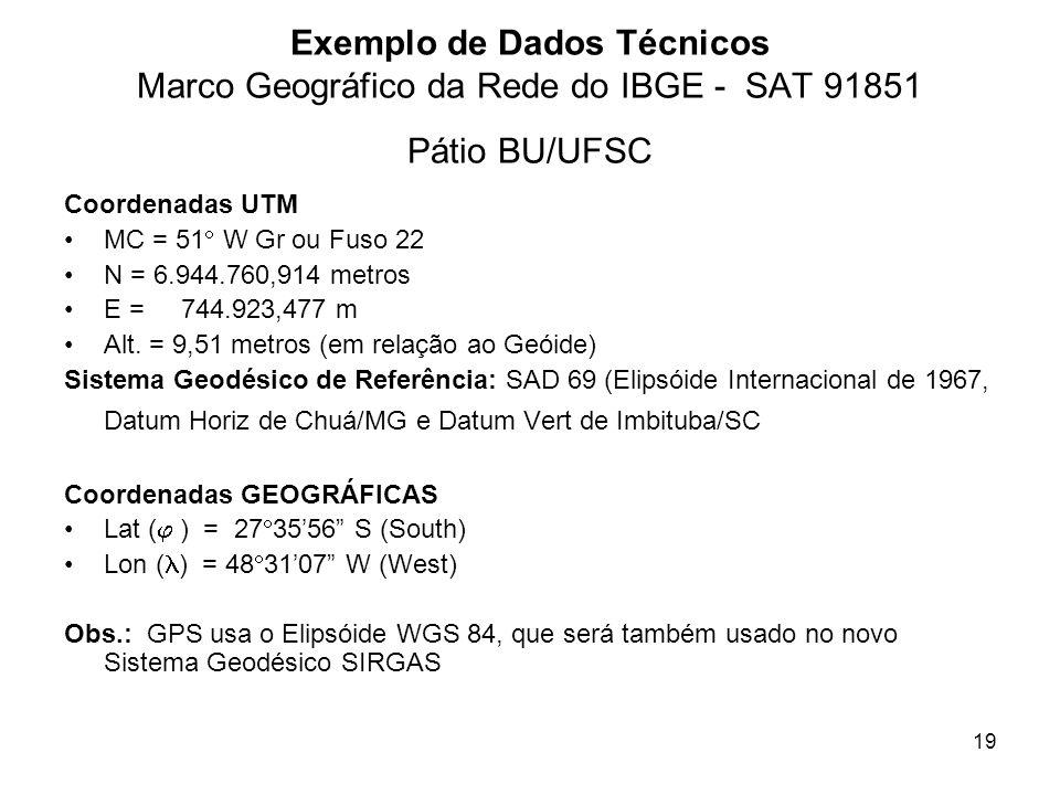 19 Exemplo de Dados Técnicos Marco Geográfico da Rede do IBGE - SAT 91851 Pátio BU/UFSC Coordenadas UTM MC = 51 W Gr ou Fuso 22 N = 6.944.760,914 metr