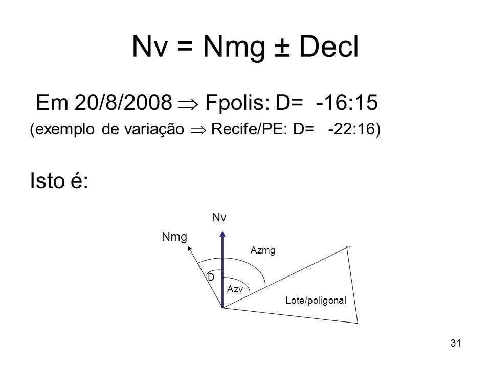 31 Nv = Nmg ± Decl Em 20/8/2008 Fpolis: D= -16:15 (exemplo de variação Recife/PE: D= -22:16) Isto é: Nv Nmg D Azmg Azv Lote/poligonal