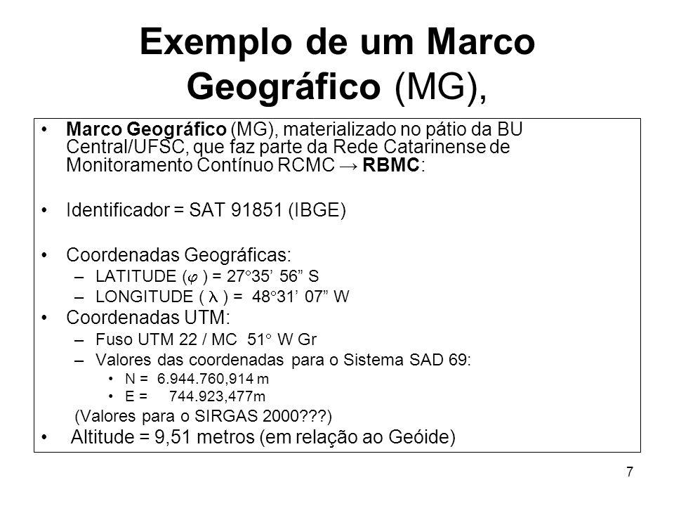 7 Exemplo de um Marco Geográfico (MG), Marco Geográfico (MG), materializado no pátio da BU Central/UFSC, que faz parte da Rede Catarinense de Monitora