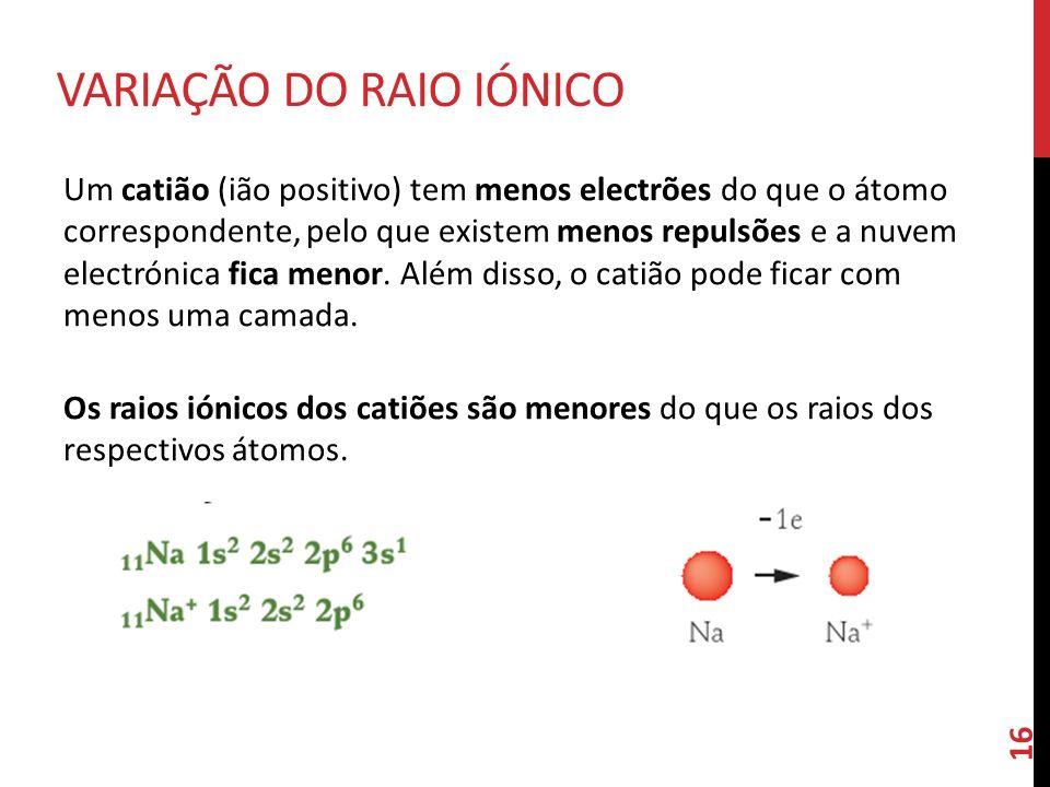 Um catião (ião positivo) tem menos electrões do que o átomo correspondente, pelo que existem menos repulsões e a nuvem electrónica fica menor. Além di