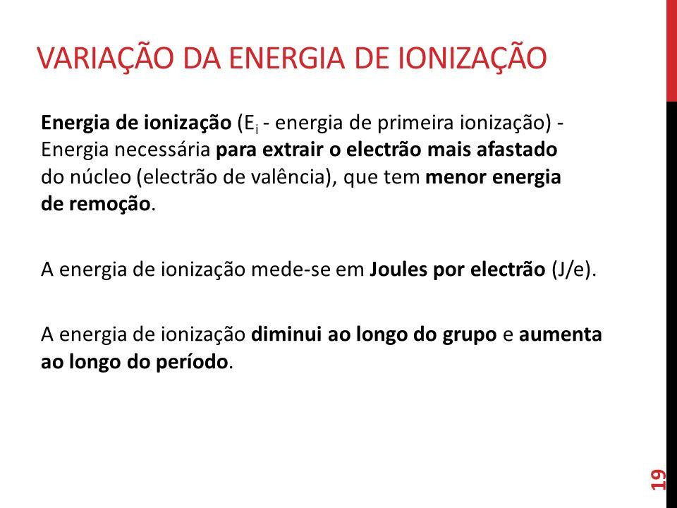Energia de ionização (E i - energia de primeira ionização) - Energia necessária para extrair o electrão mais afastado do núcleo (electrão de valência)