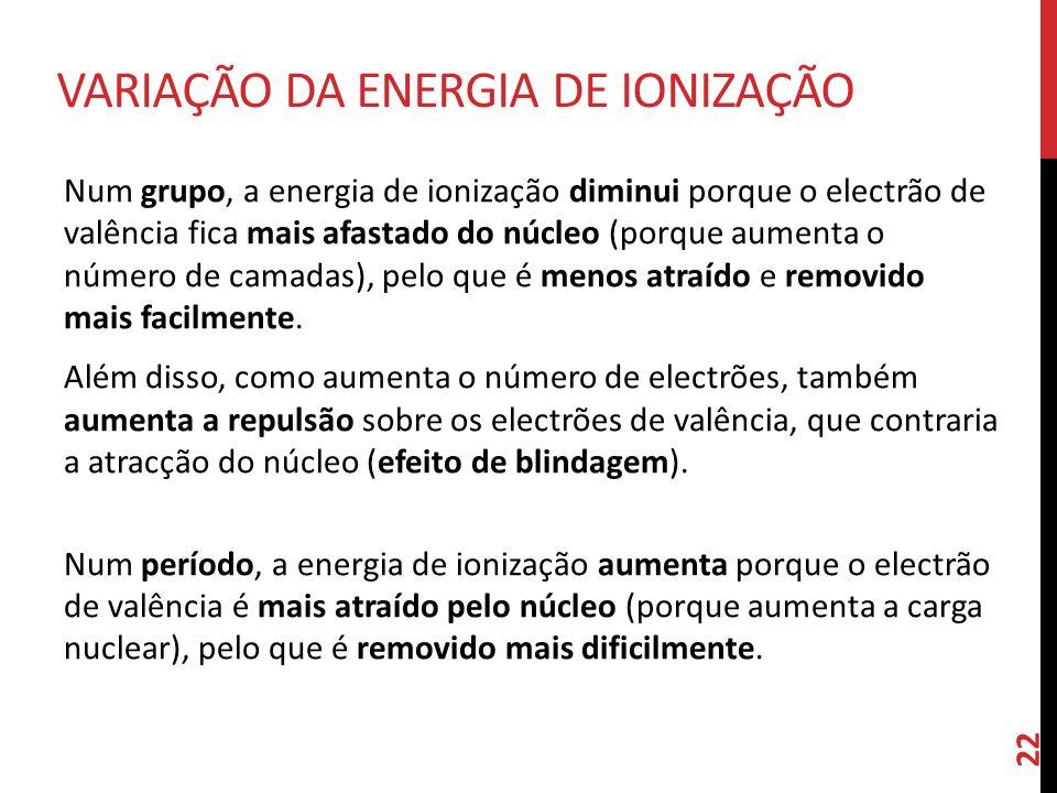Num grupo, a energia de ionização diminui porque o electrão de valência fica mais afastado do núcleo (porque aumenta o número de camadas), pelo que é