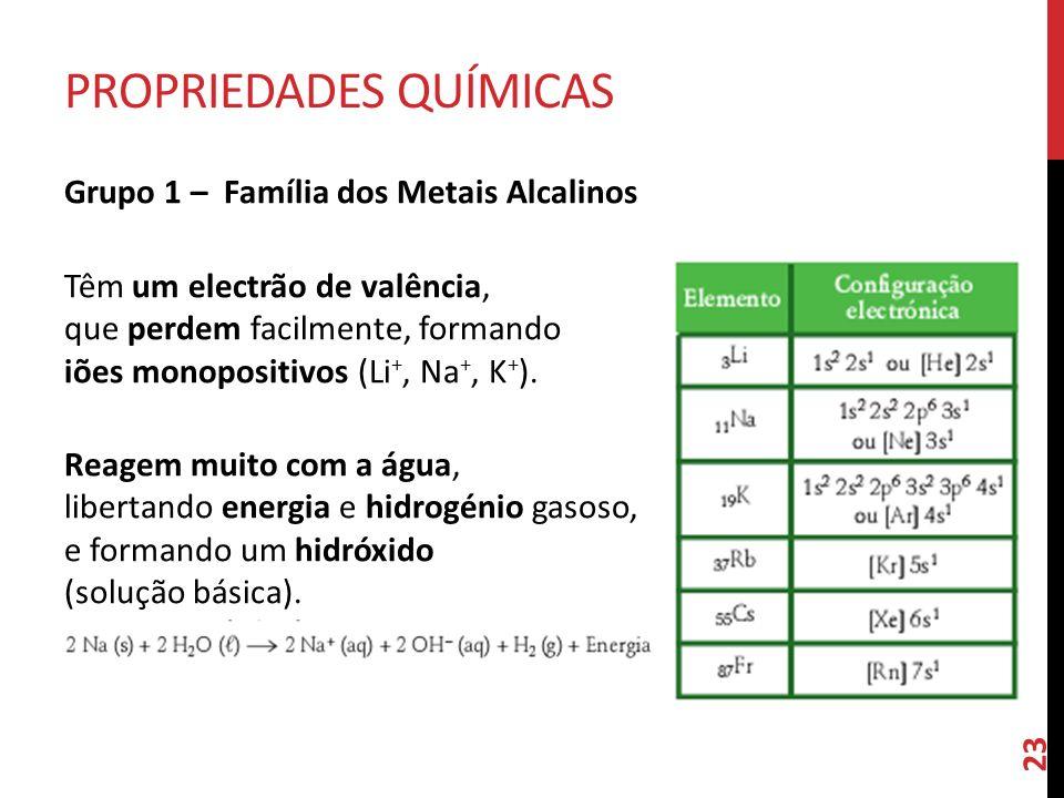 Grupo 1 –  Família dos Metais Alcalinos Têm um electrão de valência, que perdem facilmente, formando iões monopositivos (Li +, Na +, K + ). Reagem mu