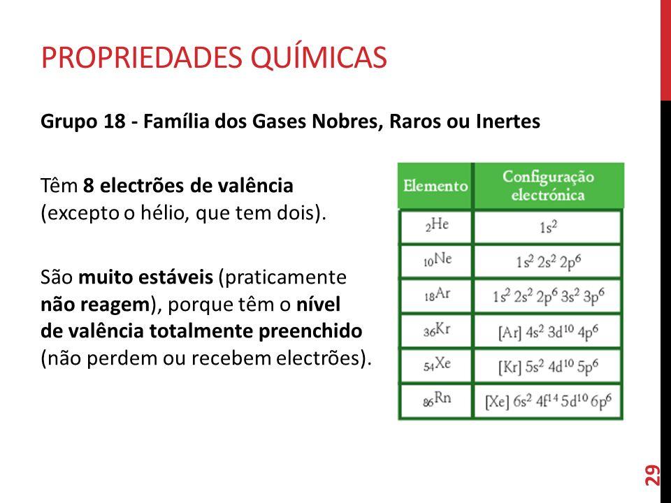 Grupo 18 - Família dos Gases Nobres, Raros ou Inertes Têm 8 electrões de valência (excepto o hélio, que tem dois). São muito estáveis (praticamente n