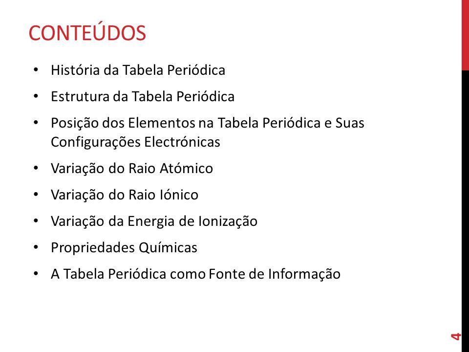 CONTEÚDOS História da Tabela Periódica Estrutura da Tabela Periódica Posição dos Elementos na Tabela Periódica e Suas Configurações Electrónicas Varia