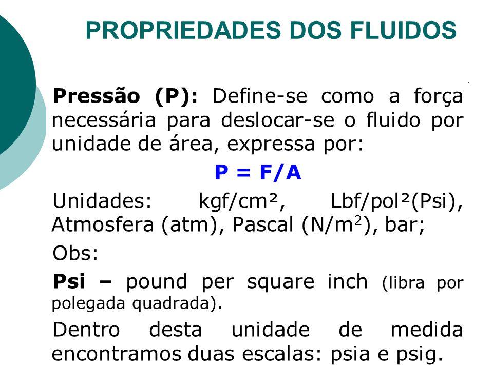 Pressão (P): Define-se como a força necessária para deslocar-se o fluido por unidade de área, expressa por: P = F/A Unidades: kgf/cm², Lbf/pol²(Psi),