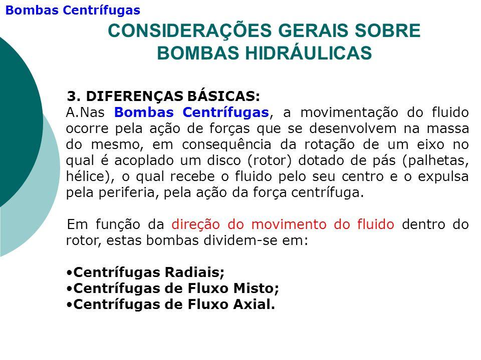 3. DIFERENÇAS BÁSICAS: A.Nas Bombas Centrífugas, a movimentação do fluido ocorre pela ação de forças que se desenvolvem na massa do mesmo, em consequê