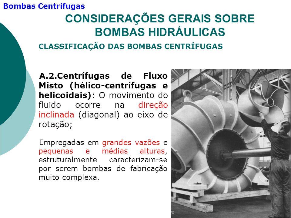 A.2.Centrífugas de Fluxo Misto (hélico-centrífugas e helicoidais): O movimento do fluido ocorre na direção inclinada (diagonal) ao eixo de rotação; Em