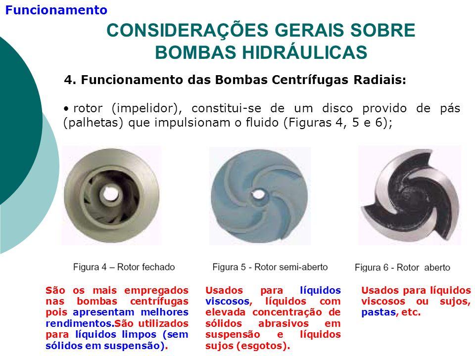 4. Funcionamento das Bombas Centrífugas Radiais: rotor (impelidor), constitui-se de um disco provido de pás (palhetas) que impulsionam o fluido (Figur
