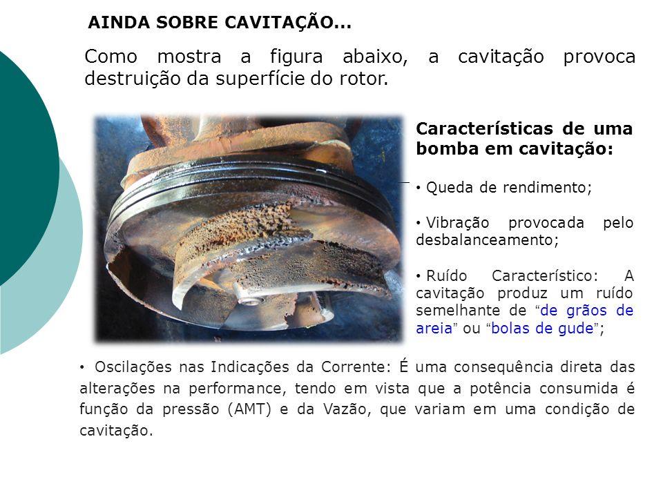 Como mostra a figura abaixo, a cavitação provoca destruição da superfície do rotor. Características de uma bomba em cavitação: Queda de rendimento; Vi