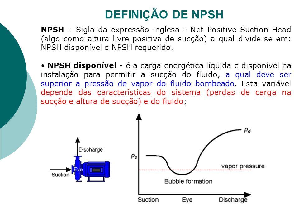 NPSH - Sigla da expressão inglesa - Net Positive Suction Head (algo como altura livre positiva de sucção) a qual divide-se em: NPSH disponível e NPSH
