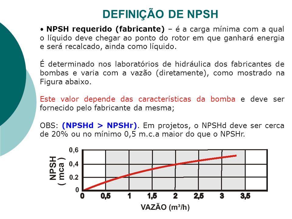 NPSH requerido (fabricante) – é a carga mínima com a qual o líquido deve chegar ao ponto do rotor em que ganhará energia e será recalcado, ainda como