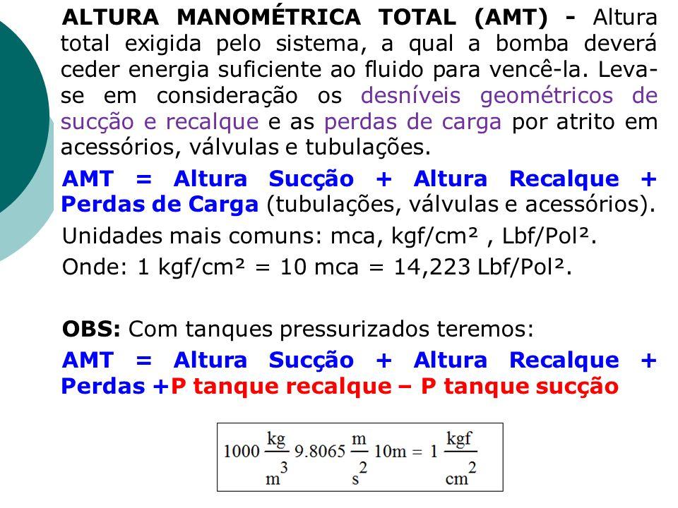 ALTURA MANOMÉTRICA TOTAL (AMT) - Altura total exigida pelo sistema, a qual a bomba deverá ceder energia suficiente ao fluido para vencê-la. Leva- se e