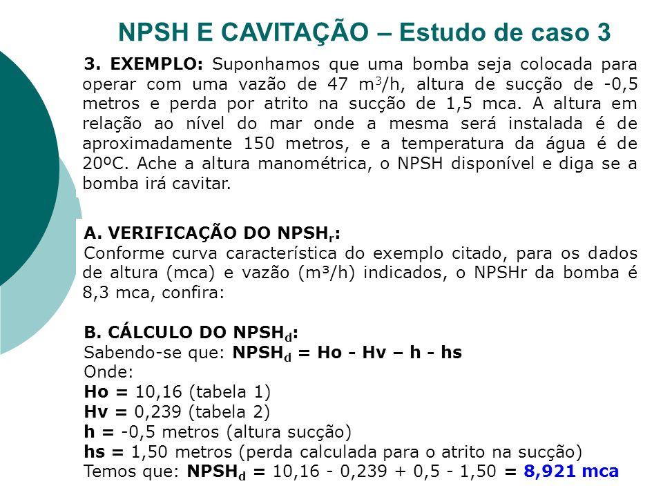 A. VERIFICAÇÃO DO NPSH r : Conforme curva característica do exemplo citado, para os dados de altura (mca) e vazão (m³/h) indicados, o NPSHr da bomba é