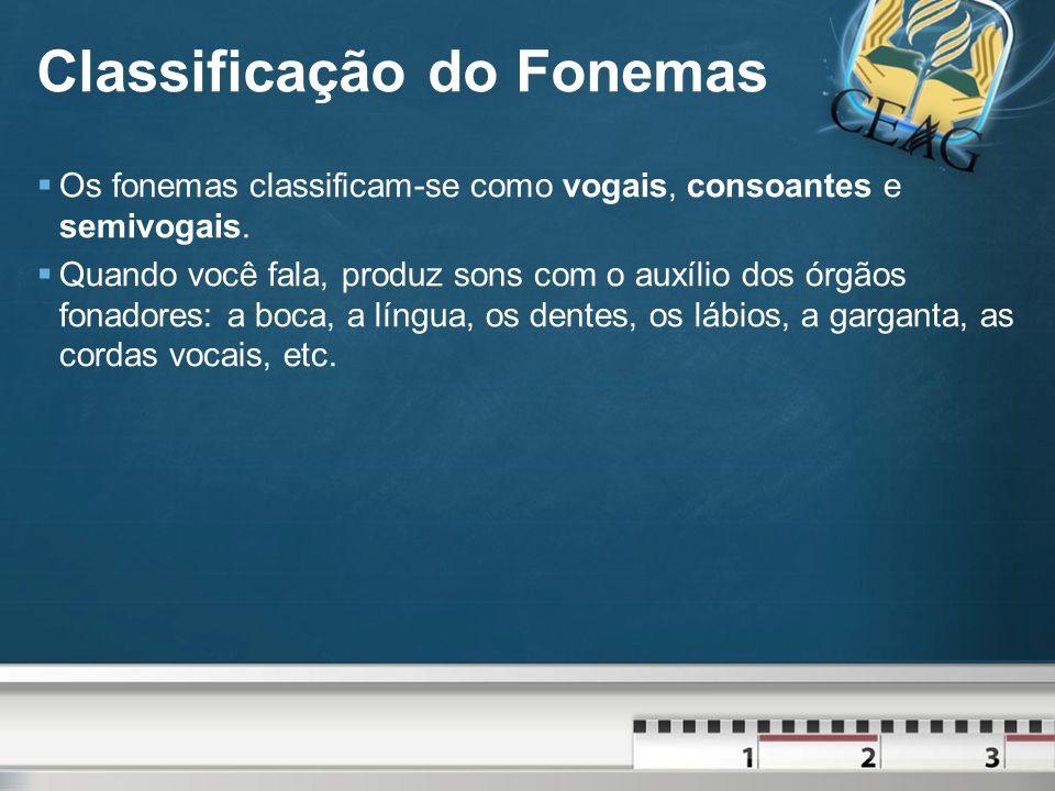 Classificação do Fonemas Os fonemas classificam-se como vogais, consoantes e semivogais.