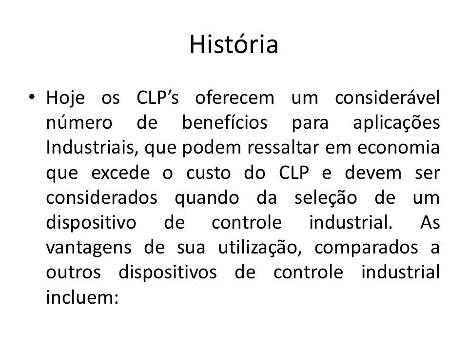 História Hoje os CLPs oferecem um considerável número de benefícios para aplicações Industriais, que podem ressaltar em economia que excede o custo do CLP e devem ser considerados quando da seleção de um dispositivo de controle industrial.