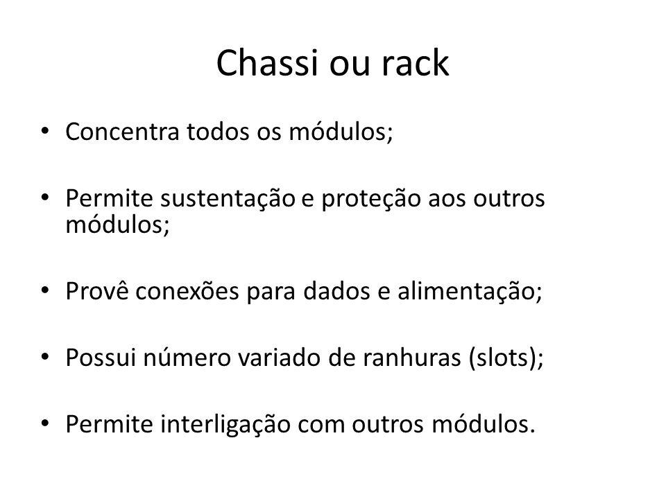 Chassi ou rack Concentra todos os módulos; Permite sustentação e proteção aos outros módulos; Provê conexões para dados e alimentação; Possui número v