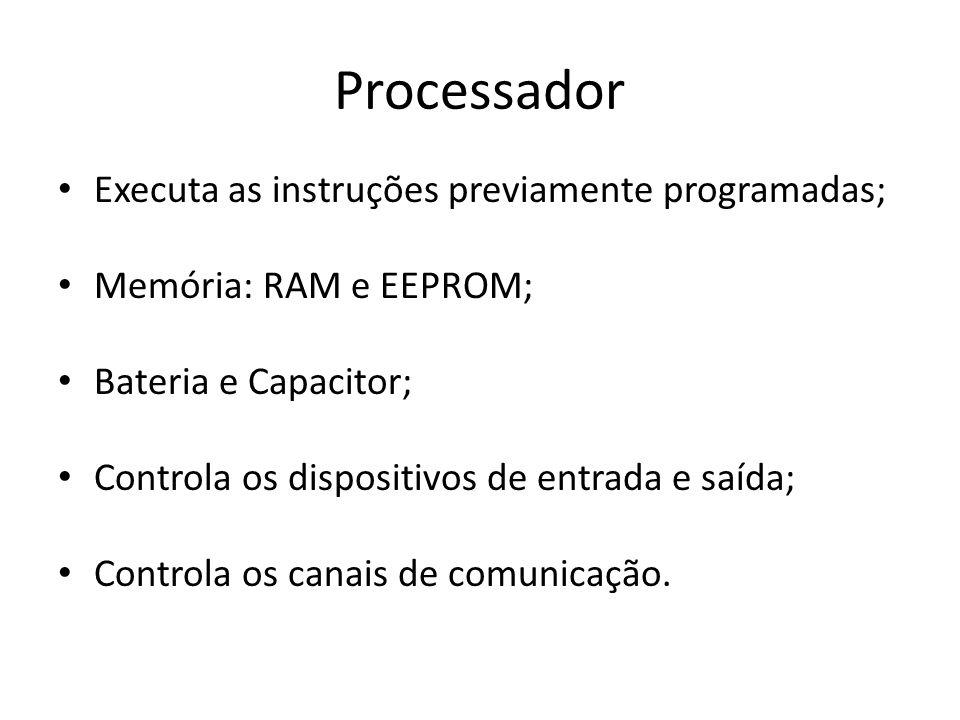 Processador Executa as instruções previamente programadas; Memória: RAM e EEPROM; Bateria e Capacitor; Controla os dispositivos de entrada e saída; Co