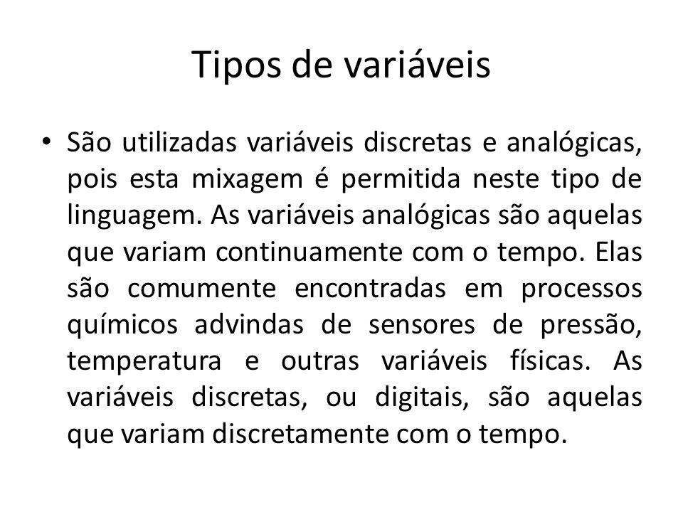 Tipos de variáveis São utilizadas variáveis discretas e analógicas, pois esta mixagem é permitida neste tipo de linguagem.