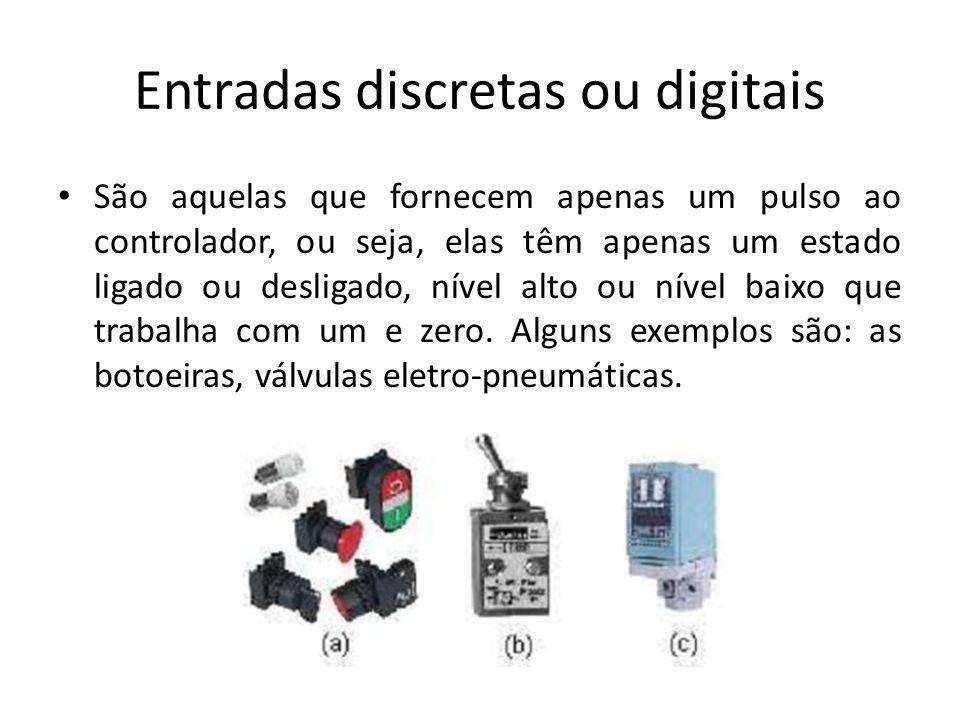 Entradas discretas ou digitais São aquelas que fornecem apenas um pulso ao controlador, ou seja, elas têm apenas um estado ligado ou desligado, nível alto ou nível baixo que trabalha com um e zero.